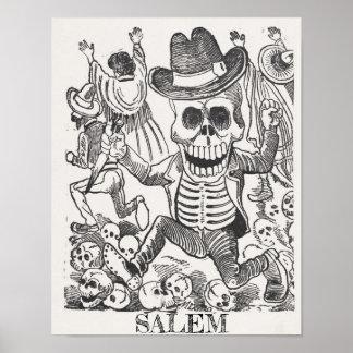 Poster Affiche occulte de crâne de Salem le Massachusetts