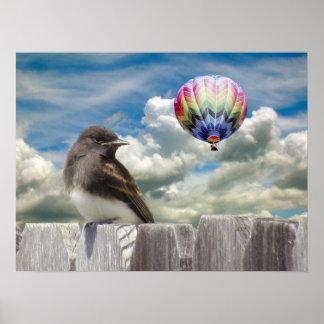 Poster Affiche - oiseau et ballon à air chaud