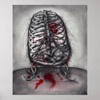 Poster Affiche originale d'art de cage d'horreur vide