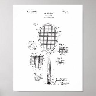 Poster Affiche originale de brevet de raquette de tennis