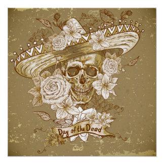 Poster Affiche parfaite de crâne de sucre de fleur