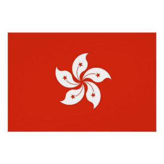 Poster Affiche patriotique avec le drapeau de Hong Kong
