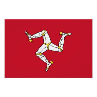 Poster Affiche patriotique avec le drapeau d'île de Man,
