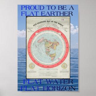 Poster Affiche plate de carte de la terre