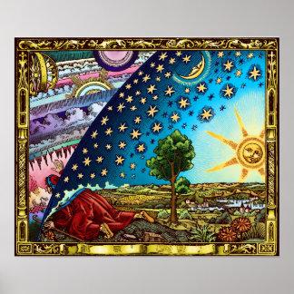 Poster Affiche plate de la terre de dôme de Flammarion