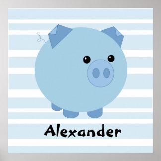 Poster Affiche potelée bleue personnalisée de porc