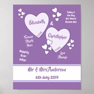 Poster Affiche pourpre et lilas de signe de mariage