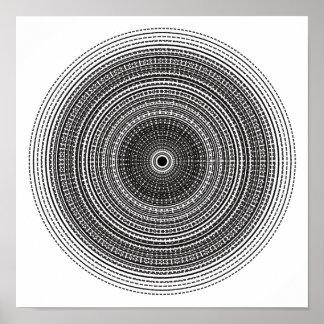 Poster Affiche radiale psychédélique Trippy de conception