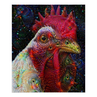 Poster Affiche rêveuse profonde de poulet de l'espace