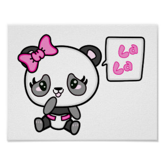 Poster Affiche rosâtre de panda d'auriculaire