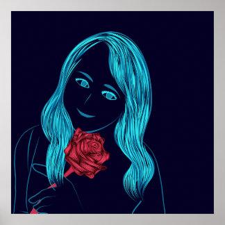 Poster Affiche rose de fille