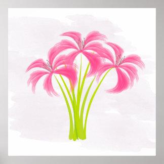 Poster Affiche rose de fleurs de lis d'aquarelle