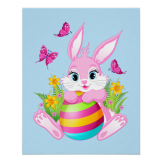 Poster Affiche rose de lapin de Pâques
