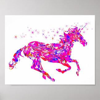 Poster Affiche rose de licorne de remous pour des enfants
