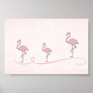 Poster Affiche rose mignonne de collage de flamant