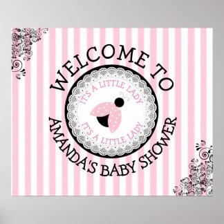 Poster Affiche rose personnalisée de baby shower de
