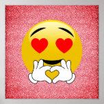 Poster Affiche rouge d'Emoji de coeur d'amour de