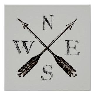 Poster Affiche rustique simple de boussole