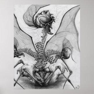Poster Affiche semblable d'art de monstre d'horreur d'os