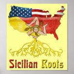 Poster Affiche sicilienne américaine de racines