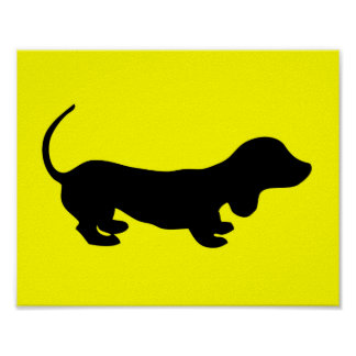 Poster Affiche simple de jaune de conception de teckel