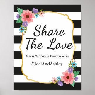 Poster Affiche sociale de signe de mariage de Hashtag de