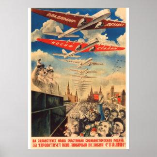 Poster Affiche soviétique de propagande de Joseph Staline