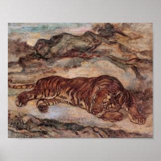 """Poster Affiche """"tigre dans le repos"""" par Barye"""