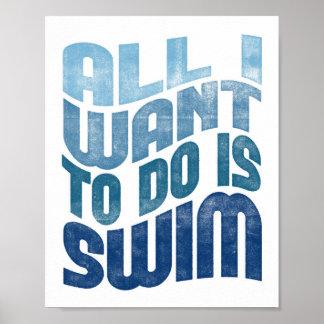 Poster Affiche toute de natation je veux la copie de