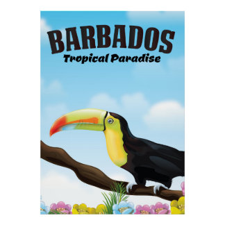 Poster Affiche tropicale de voyage de paradis des Barbade