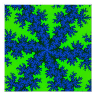 Poster Affiche vert-bleu de flocon de neige