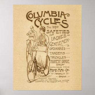 Poster Affiche vintage d'art d'annonce de bicyclettes de