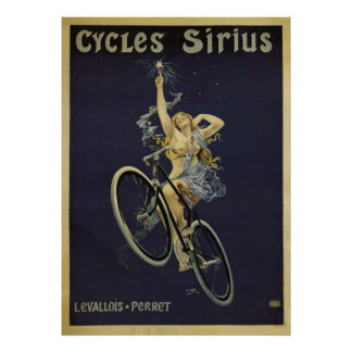 Poster Affiche vintage de bicyclette de Sirius de cycles