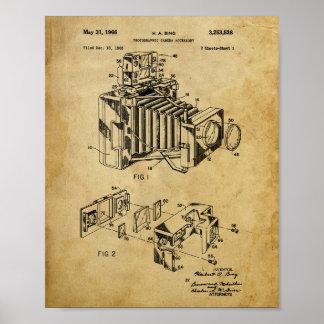 Poster Affiche vintage de brevet d'appareil-photo