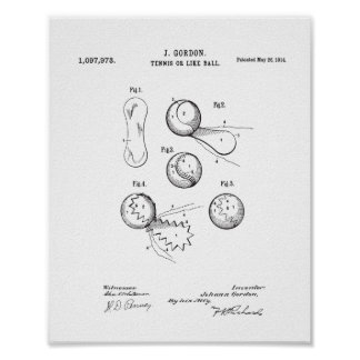 Poster Affiche vintage de brevet de balle de tennis,