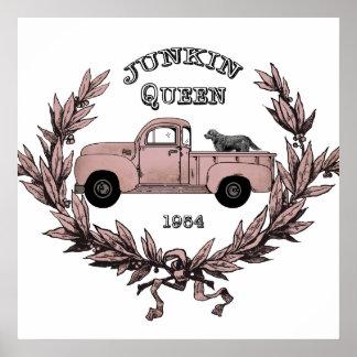 Poster Affiche vintage de camion de reine de junkin de