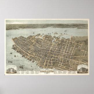 Poster Affiche vintage de carte de Charleston, la