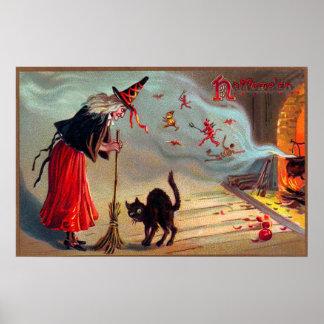Poster Affiche vintage de décor de chat noir de sorcière