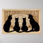 Poster Affiche vintage de décor de partie de chats noirs