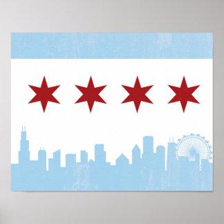 Poster Affiche vintage de drapeau de Chicago