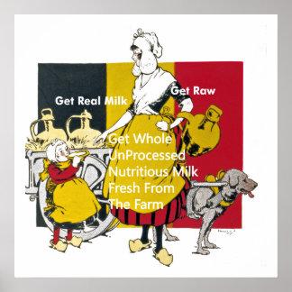 Poster Affiche vintage de lait
