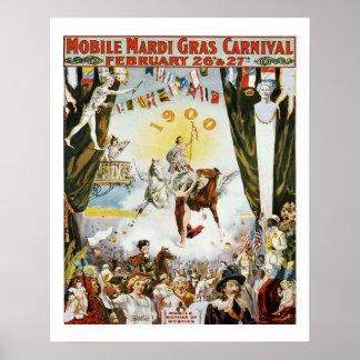 Poster Affiche vintage de mardi gras