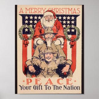 Poster Affiche vintage de Noël -- Paix