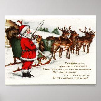 Poster Affiche vintage de Noël -- Père Noël et renne