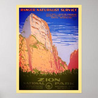 Poster Affiche vintage de parc national de Zion