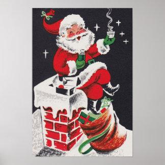 Poster Affiche vintage de Père Noël de cacao de Noël