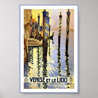 Poster Affiche vintage de piscine découverte de Venise de