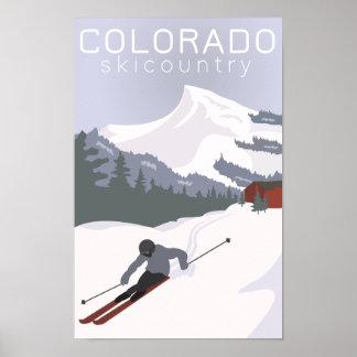 Poster Affiche vintage de ski