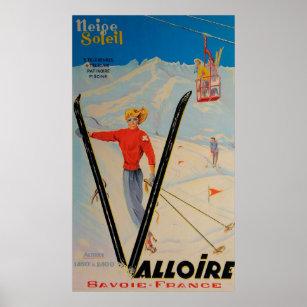 Poster Affiche vintage de ski de Valloire, en Savoie