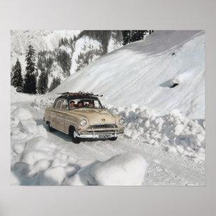 Poster Affiche vintage de ski, voiture à la piste